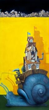 Luigi Lerna - Festina Lente - TM su legno - 30x60 cm. luigilerna.it