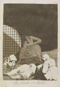 Francisco Goya - Capriccio 34 - Le vince il sonno - acquaforte e acquatinta
