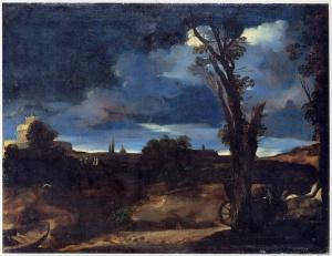 Guercino - Paesaggio al chiaro di luna - 1616