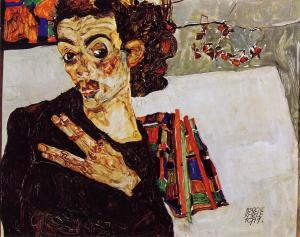Egon Schiele - Autoritratto con vaso nero - 1911
